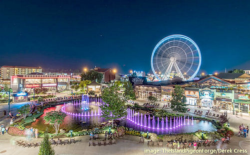 Fountain show, Smoky Mountain Wheel, shops, restaurants, rides, and entertainment at The Island in Pigeon Forge
