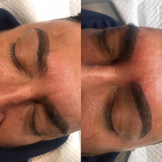 Men microblading after 5 weeks and touch