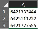 SMS mobile numbers in excel csv