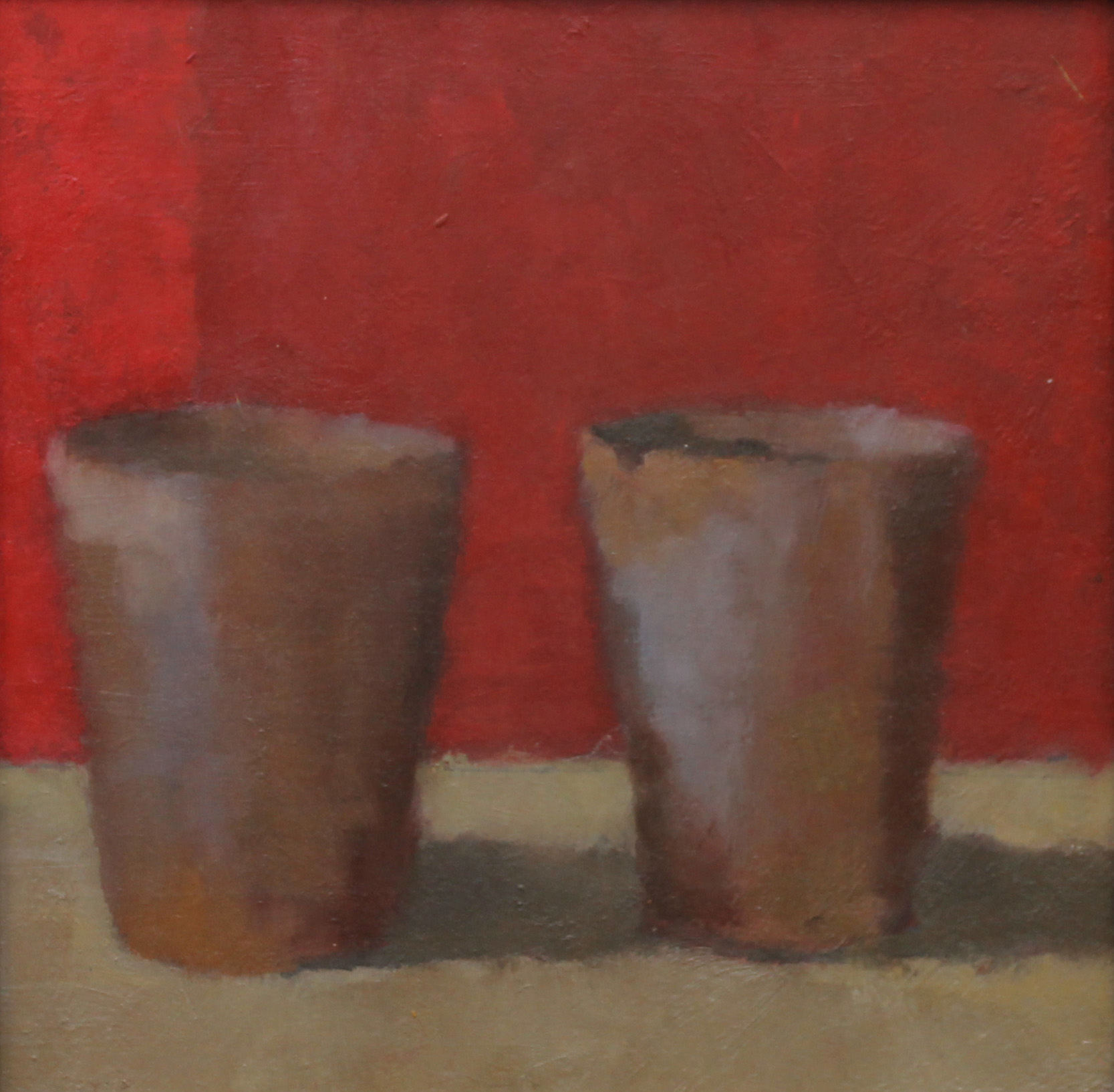 Two Pots Red  Oil on Board  20x20 cm