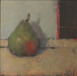 Pear, oil on board, 20x20cms (2)