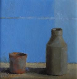 Two Pots Blue  Oil on board  20x20cm