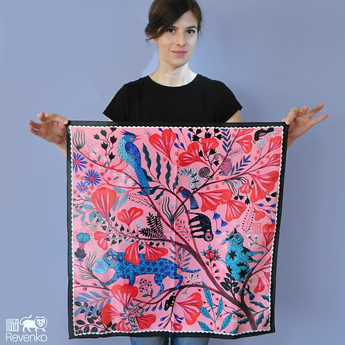 PINK JUNGLE artist silk scarf