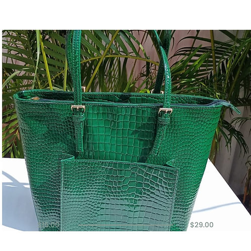 Green Croc Print Tote