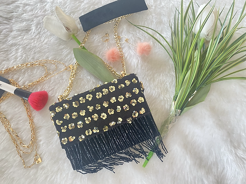 Black Tassel Flower Embroidered Sling