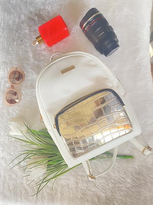 Metal Zip Gold Backpack