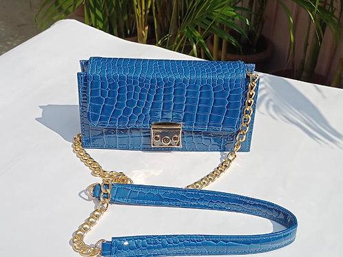 Blue Croc Print Lock Sling