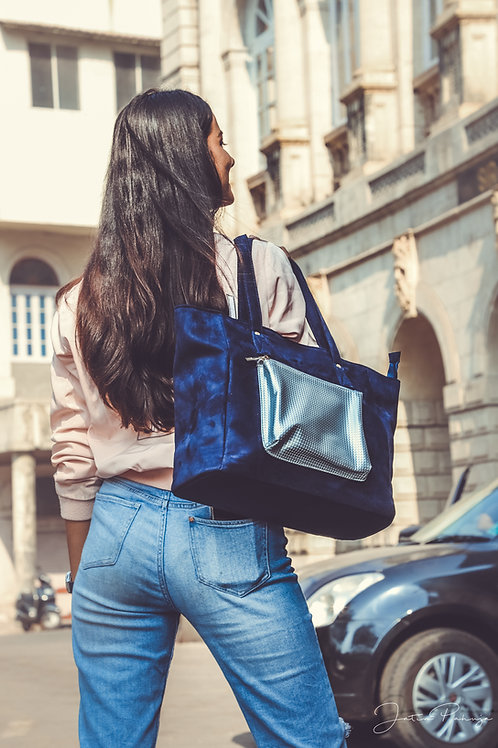 Blue Silver Pocket Suede Tote