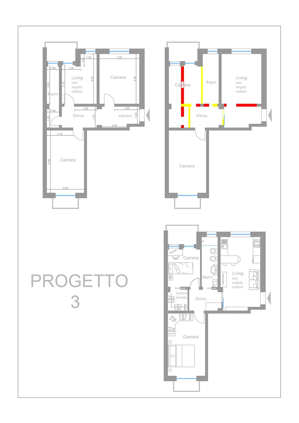 Appartamento di strada Castello di Mirafiori 107, planimetria dello stato di fatto e del progetto
