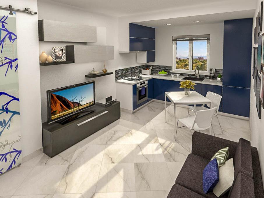 Nuovo layout: ingresso su soggiorno e cucina a vista per l'appartamento di strada Castello di Mirafiori a Torino