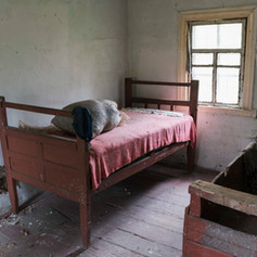 Beds in abandoned House, Chernobyl, Ukraine