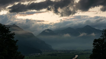 Mountains and Clouds in Zillertal, Austria