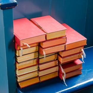 Bibles on bench, Marken, The Netherlands