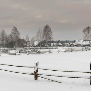 Village of Guszczewina in Winter, Poland