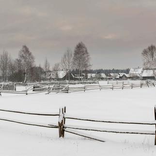 Village of Guszczewina in Winter, Poland