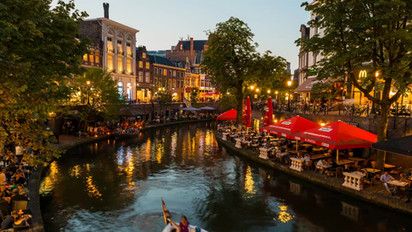 Evening at the 'Oude Gracht' in Utrecht, The Netherlands