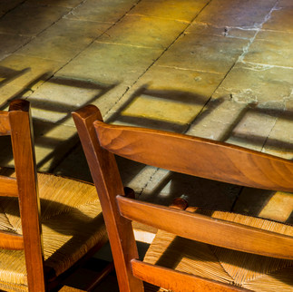 Chairs in the church of La Charite sur Loire, France.