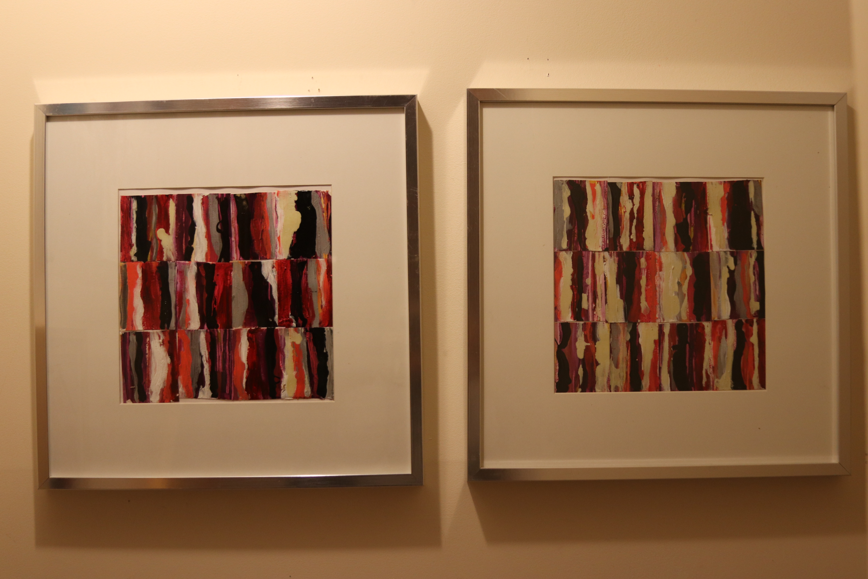 twin collages 12 x 12 framed