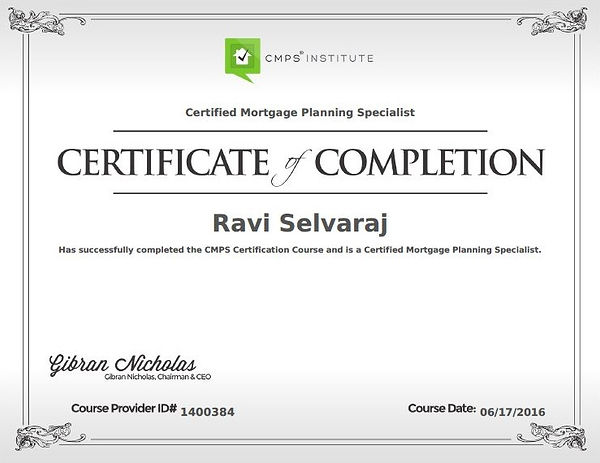 Ravi Selvaraj is a certified mortgage planning specialist.