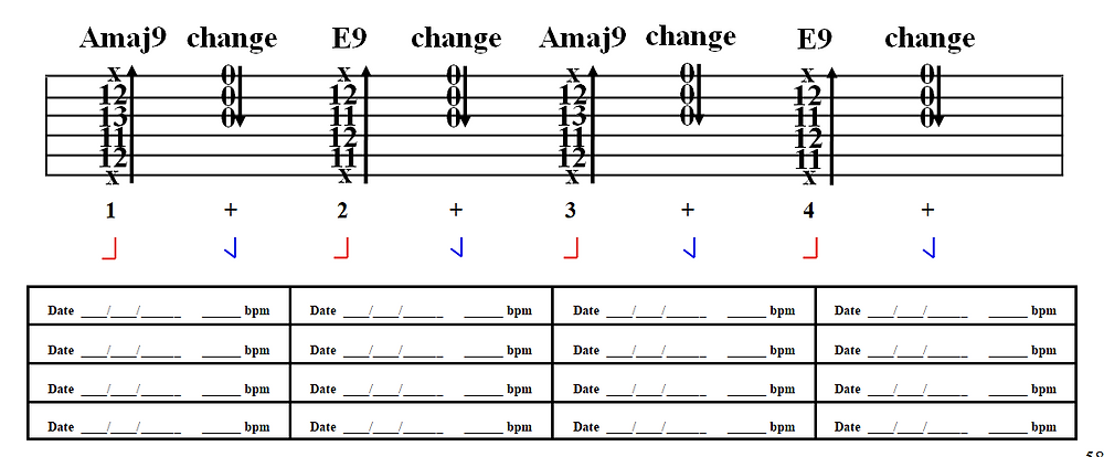 practice Amaj9 to E9 jazz chords on guitar