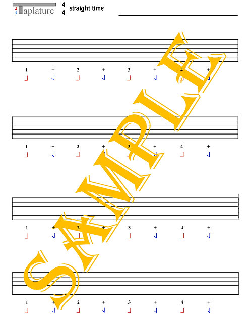 Taplature Starter Pack. Four Taplature sheets suitable for most popular music