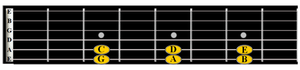 notes on the dotted frets of guitar neck
