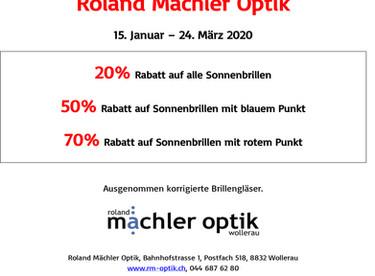 Sonnebrillen-Ausverkauf bei Roland Mächler Optik