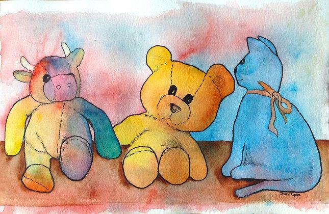 Stuffies on a Shelf