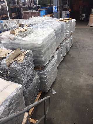 Plastic bales ready for waste collection and recycling plastic waste from UK industry