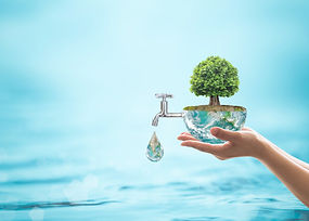 hands holding water earth globe and tree with a tap drinpping into the ocean, looking after the environment