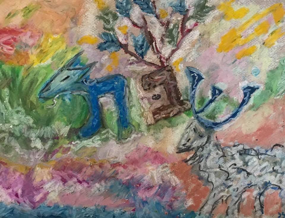 Shabbat, Pastel, framed.JPG