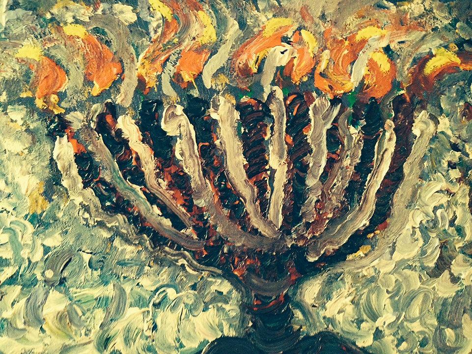 Hanukkah Acrylic Painting.JPG