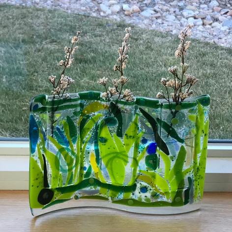 Tall Green Pocket Vase