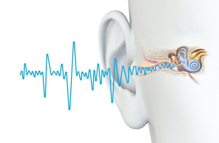 Image of ear with jagged sound waves coming out