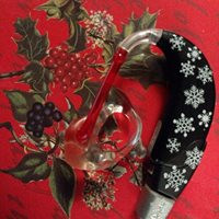 Black hearing aid with snow stickers on