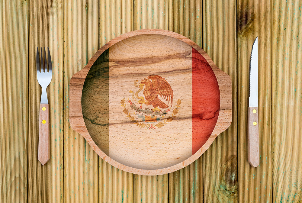 Mexican themed dinner plate and setting