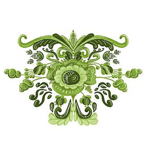 green flower scandinavian folk art inspi
