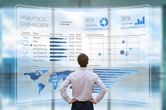 Businessman analyzing a business analyti