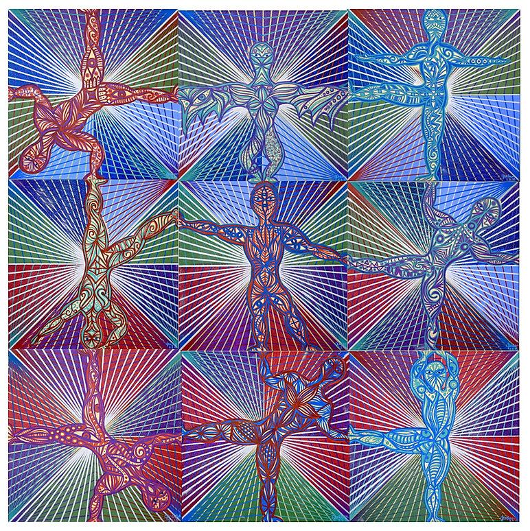 Goddesses, 5' x 5' Arylic on Canvas, Jen Ann Simmos