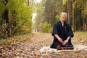 oriental Master of tea ceremony in autum