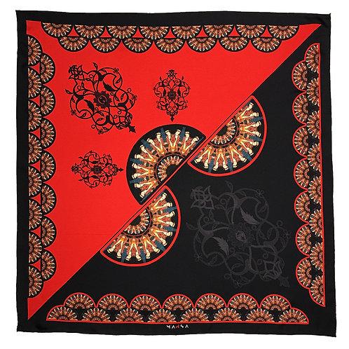 "Printed Silk Twill (28"" x 28"")"
