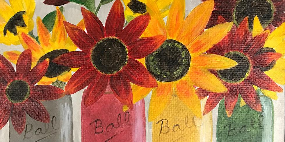 Sunflower Mason Jars
