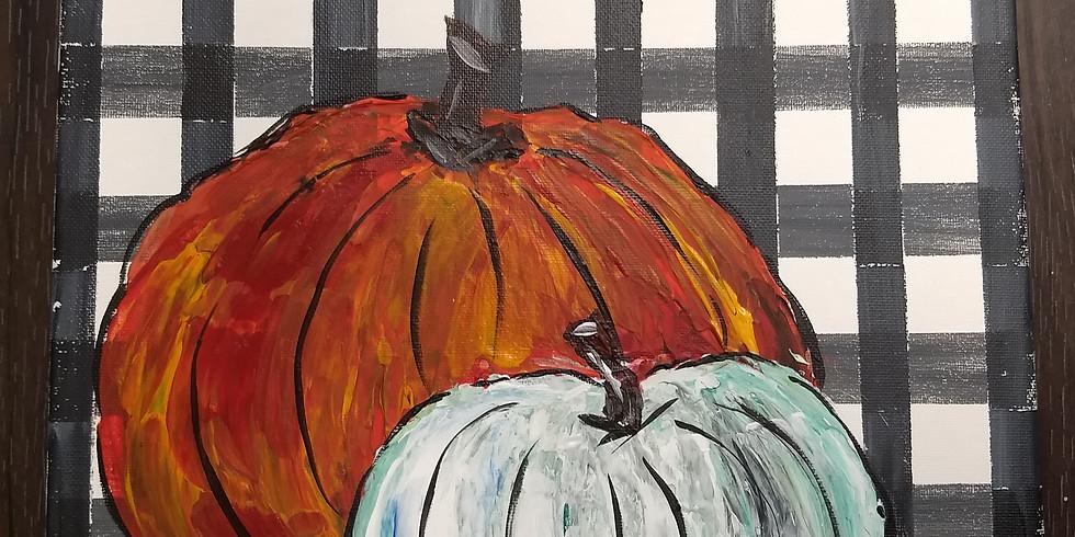 Plaid Pumpkin Painting