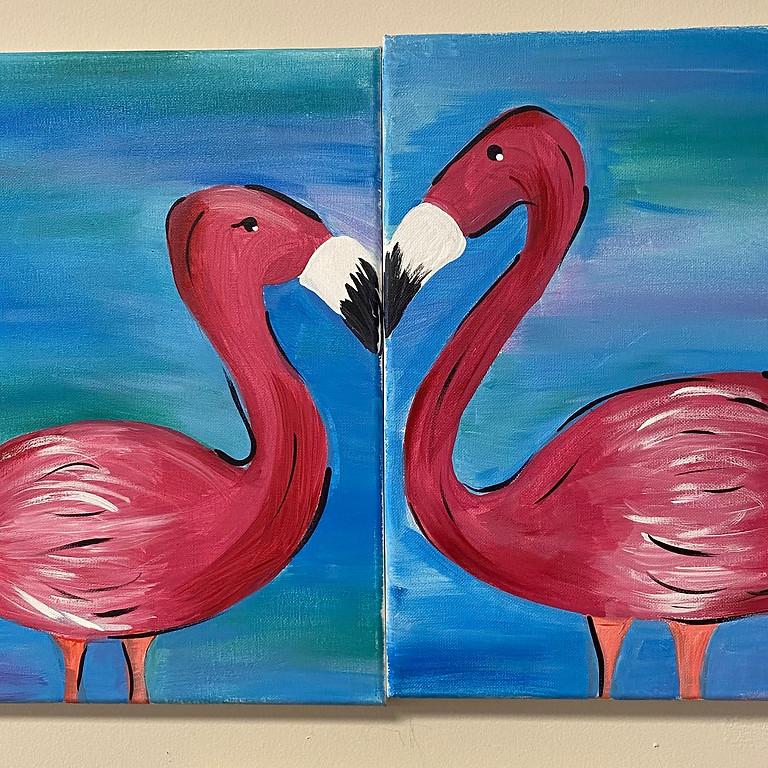 Flamingo Couples Painting