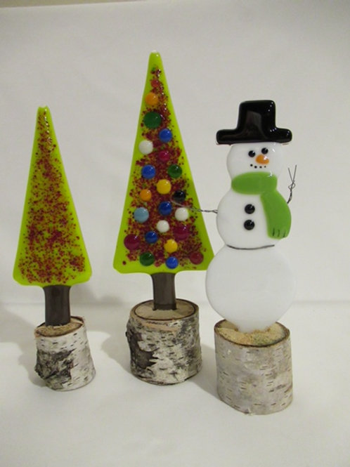 Snowman with two Christmas trees