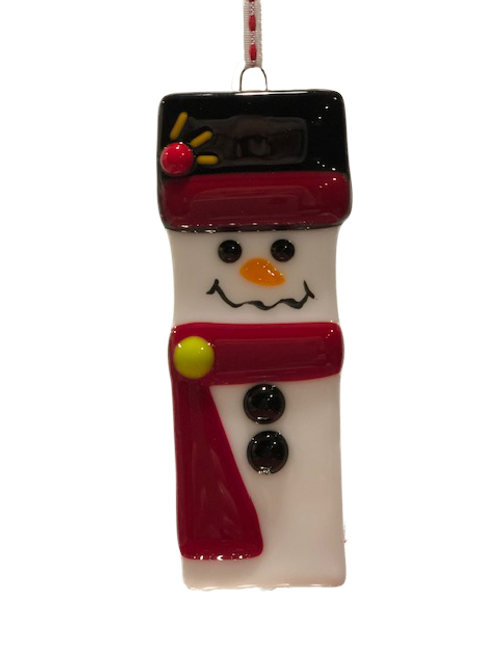 Snowman ornament w/red scarf