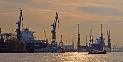 Hamburg Docks in evening light