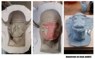 Animatronic orc head mold.