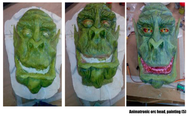 Animatronic orc head, painting.