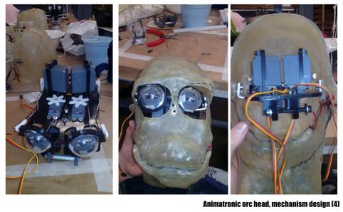 Animatronic orc head, mechanism design II.